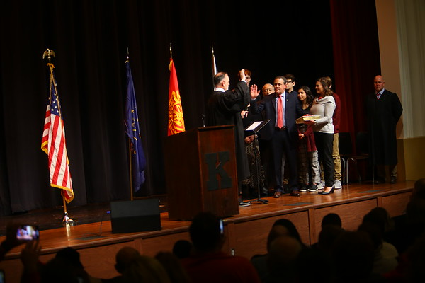 Tyler Moore takes the oath of office for Mayor of Kokomo in front of hundreds at Central Middle School on January 1, 2020.<br /> Tim Bath | Kokomo Tribune