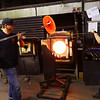 Jeff Simmons, Master glass blower, working in the studio at Kokomo Opalescent Glass on January 17, 2020.<br /> Tim Bath | Kokomo Tribune