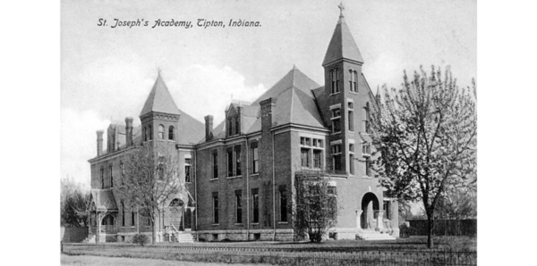 SAINT JOSEPH'S ACADEMY, TIPTON IN: SEPIA POSTCARD WITH LETTERING. SIDE VIEW.<br /> Data Provider	Allen County Public Library