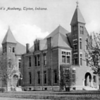 SAINT JOSEPH'S ACADEMY, TIPTON IN: SEPIA POSTCARD WITH LETTERING. SIDE VIEW.<br /> Data ProviderAllen County Public Library