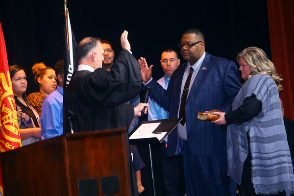 Judge Parry gives the oath of office to Kokomo City Council member Ray Collins in front of hundreds at Central Middle School on January 1, 2020.<br /> Tim Bath   Kokomo Tribune
