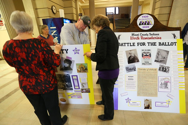 Bruce Brindle and other member of Miami County Worth Remembering is setting up an exhibit remembering the local suffragettes at the Miami County Courthouse on January 10, 2020.<br /> Tim Bath | Kokomo Tribune