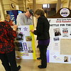 Bruce Brindle and other member of Miami County Worth Remembering is setting up an exhibit remembering the local suffragettes at the Miami County Courthouse on January 10, 2020.<br /> Tim Bath   Kokomo Tribune