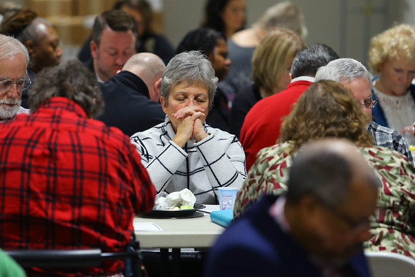 Pastor Karen Burkley from Southside Christian Church praying at the Mayor's Prayer & Action Breakfast on January 6, 2020.<br /> Tim Bath | Kokomo Tribune