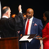 Judge Parry gives the oath of office to Kokomo City Council member Sntonio Stewart in front of hundreds at Central Middle School on January 1, 2020.<br /> Tim Bath | Kokomo Tribune