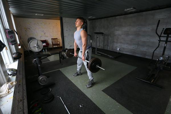 Caden Perry takes advantage of the weight room at Kokomo Urban Outreach on January 27, 2020. <br /> Tim Bath | Kokomo Tribune