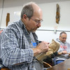 Jack Shelton works on his carving at Converse's Eastern Woodland Carvers Club on January 14, 2020.<br /> Kelly Lafferty Gerber | Kokomo Tribune