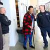 Tarita Brown thanks Kokomo firefighters Kevin Watt, Chief Chris Frazier and Jeff Cooper at station 2 on January 7, 2020. She was in a horrific auto accident on October 23, 2018, in which she was entrapped and had to be cut out. Cooper stayed with her in the car talking her through the extraction. Watt and Frazier were the other rescuers that were first on the scene.<br /> Tim Bath | Kokomo Tribune
