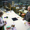 Glass artist Daniel Casey, right, instructs Theresa Turner during a glass fusing class at Kokomo Opalescent Glass on January 8, 2020.<br /> Kelly Lafferty Gerber | Kokomo Tribune