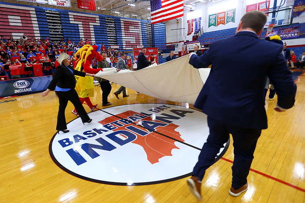 Fox Sports Indiana on Wednesday January 8, 2020, announcing Kokomo HS as the host of their Basketball Day in Indiana on Feb. 8. Kokomo will host 4 games that day and FS Indiana will televise all four. The center court logo is unveiled.<br /> Tim Bath | Kokomo Tribune