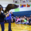 Elwood Haynes Elementary students were treated to birds of prey from the American Eagle Foundation thanks to a grant by Duke Energy on January 28, 2020. Carly Hamilton holds a bald eagle as Jenna Penland talks about it.<br /> Tim Bath | Kokomo Tribune