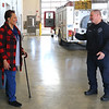 Tarita Brown thanks Kokomo firefighters Kevin Watt, Chief Chris Frazier and Jeff Cooper at station 2 on January 7, 2020. She was in a horrific auto accident on October 23, 2018, in which she was entrapped and had to be cut out. Cooper stayed with her in the car talking her through the extraction. Watt and Frazier were the other rescuers that were first on the scene. Cooper gets ready to hug Brown.<br /> Tim Bath | Kokomo Tribune