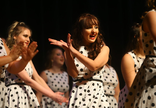 Taylor High School's Glitz & Glamour Show Choir's pre-cruise performance featuring music from different female performers from the 1940s-2000s on Thursday, Jan. 9, 2020. The show choir will be performing as part of the entertainment line up on the Carnival Elation  cruising to the Bahamas January 16-20. <br /> Kelly Lafferty Gerber   Kokomo Tribune