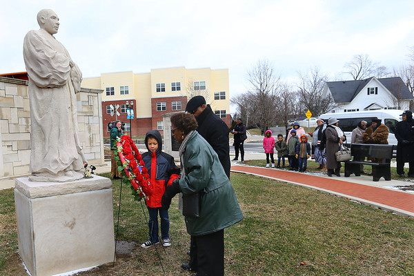 The Community Ecumenical Service Honoring Rev. Dr. Martin Luther King, Jr. starting at Second Missionary Baptist Church on January 20, 2020. The service concluded with a march to the MLK Memorial down Apperson Way where a wreath was placed.<br /> Tim Bath   Kokomo Tribune