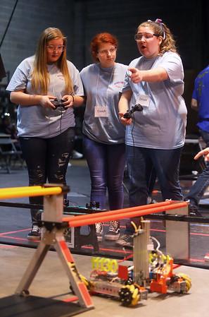 Kokomo RoboKats from left: August Shriver, Heaven Stipek, and Chelsy Sanders drive their robot in the IU Kokomo FIRST Tech Challenge Qualifying Tournament on Saturday, January 11, 2020.<br /> Kelly Lafferty Gerber | Kokomo Tribune