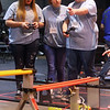 Kokomo RoboKats from left: August Shriver, Heaven Stipek, and Chelsy Sanders drive their robot in the IU Kokomo FIRST Tech Challenge Qualifying Tournament on Saturday, January 11, 2020.<br /> Kelly Lafferty Gerber | Kokomo Tribune