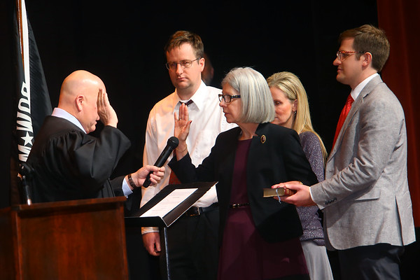 Judge Tate gives the oath of office to Kokomo City Council memberCynthia Sanders  in front of hundreds at Central Middle School on January 1, 2020.<br /> Tim Bath | Kokomo Tribune