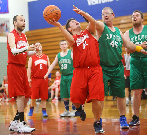 Howard County Bobcats' Dylan Fell puts up a shot during the 5-on-5 game against the Tippecanoe County Hornets at the Special Olympics of Howard County basketball tournament at Kokomo High School on Saturday, January 11, 2020.<br /> Kelly Lafferty Gerber | Kokomo Tribune
