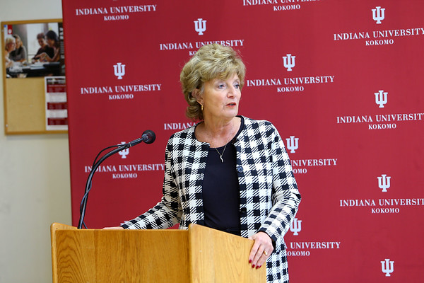 Indiana University Kokomo officials announce the launch of a $3 million fund raising campaign to help pay for the new Student Activities and Event Center on January 27, 2020. Chancellor Susan Sciame-Giesecke kicks off the press conference.<br /> Tim Bath   Kokomo Tribune