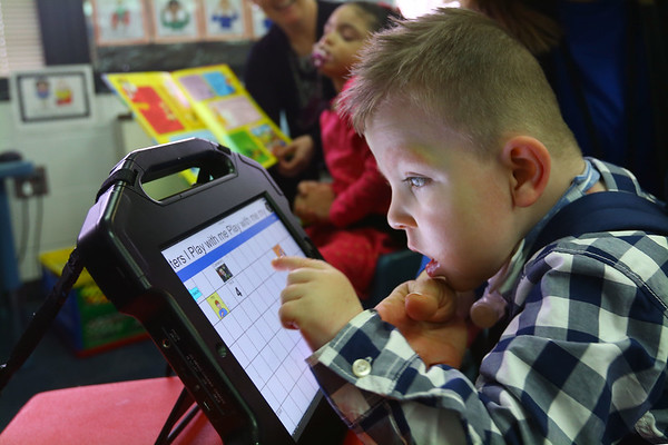 Haynes Elementary School non-verbal students use touch screen devices to communitcate on January 31, 2020. Cameron Butler lights up when people understand what he is trying to say.<br /> Tim Bath | Kokomo Tribune