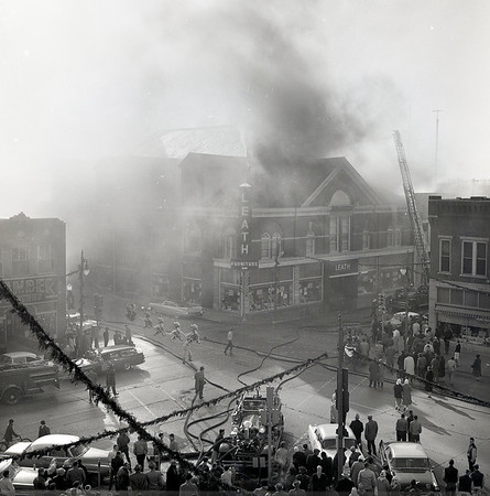 Leath's Furniture business and structure burned on December 9, 1960<br /> Formerly the Alhambra Theatre, Kokomo<br /> Alhambra theatre (Auditorium*); Sycamore and Buckeye, three-story  brick.<br /> *Later the building was a roller rink and Leath's Furniture Store