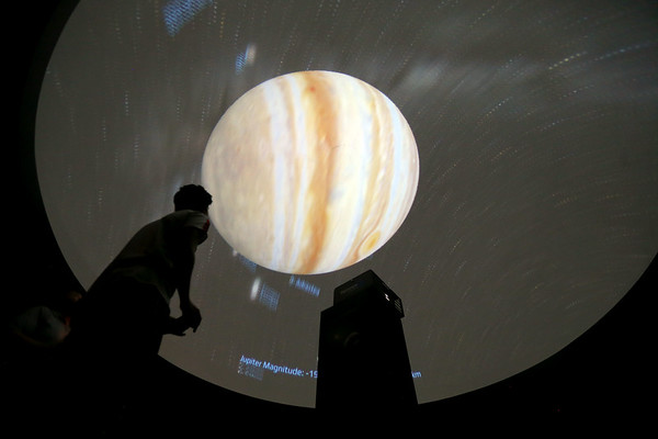 Taylor students in Jeremy Kennedy's class in the updated planetarium on March 3, 2020.<br /> Tim Bath   Kokomo Tribune