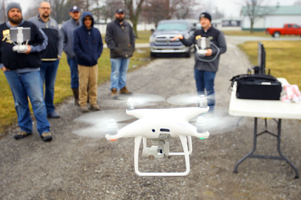 Purdue Extension UAV Signature Program drone training held at the Tipton County fairgrounds ending with flying skills training on March 2, 2020. Instructor Austin Person instructs the class as they work on some flying practice. Tim Bath | Kokomo Tribune