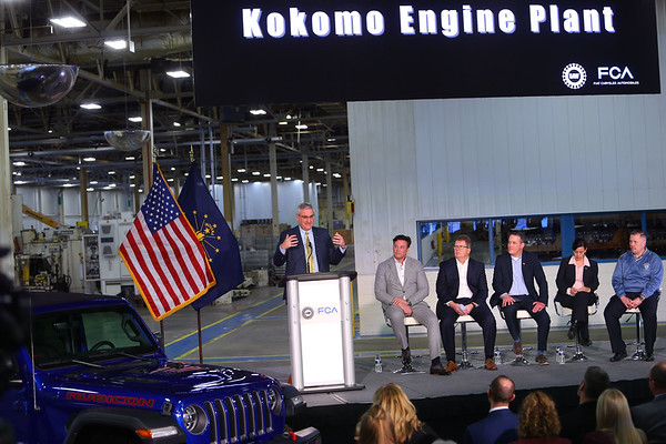 Governor Eric Holcomb addresses the crowd after FCA announces their investment of $400 million to convert the ITP II plant into an engine assembly plant while also changing the name to Kokomo Engine Plant or KEP on March 5, 2020.  Tim Bath | Kokomo Tribune