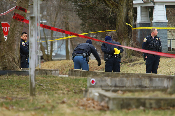 Kokomo Police with assistance from Indiana State Police work fatal shooting in the 400 block of North Purdum Street shortly after 5 p.m. on Friday March 6, 2020. Tim Bath | Kokomo Tribune