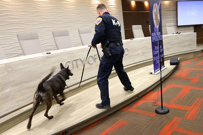 KPD's Derek Cole does a tracking demonstration for the newest class of the Citizens Police Academy on March 11, 2020. Tim Bath | Kokomo Tribune