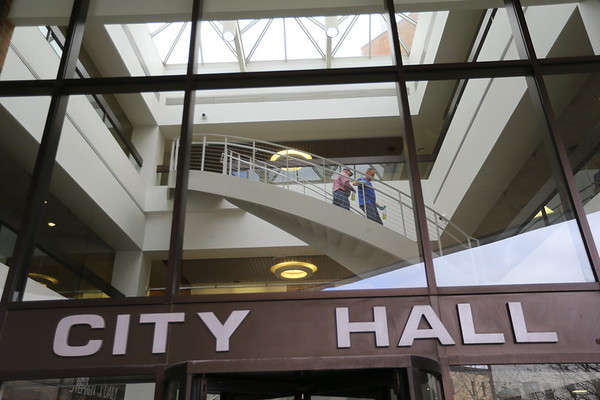 Kokomo's City Hall offices and offsite buildings are largely closed to the public to stem the spread of COVID-19. City services are operating with restrictions on public access to the second and third floors of City Hall, in addition to each offsite building such as the Parks and Recreation office, Street Department etc.  City employees sanitize the city building on March 17, 2020.  Tim Bath | Kokomo Tribune