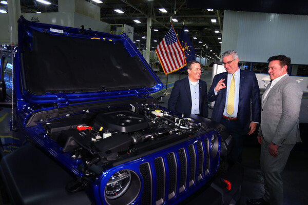 FCA announces their investment of $400 million to convert the ITP II plant into an engine assembly plant while also changing the name to Kokomo Engine Plant or KEP on March 5, 2020. Mayor Tyler Moore, Governor Eric Holcomb and COO of FCA NA Mark Stewart talk about the engine and the Jeep Rubicon that it is in. Tim Bath | Kokomo Tribune
