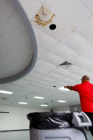 Danta Rogers shows the water damage at the Carver Community Center on March 19, 2020. Tim Bath | Kokomo Tribune