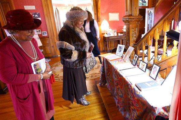 Black Women in the Middle West open house at the Seiberling Mansion on Sunday March 15, 2020. Juanita Martin and Eunice Jackson look at the display of the project that is being added to the Howard County Museum's collection. Tim Bath | Kokomo Tribune
