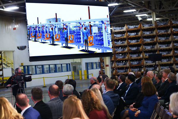 FCA announces their investment of $400 million to convert the ITP II plant into an engine assembly plant while also changing the name to Kokomo Engine Plant or KEP on March 5, 2020. Attendees watch a video overview of the plant and what it will look like. The plant is currently being used for storage of transmissions only while the old epuipment is being removed. Tim Bath | Kokomo Tribune