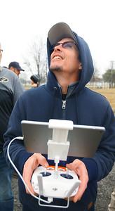 Purdue Extension UAV Signature Program drone training held at the Tipton County fairgrounds ending with flying skills training on March 2, 2020. Todd Kirkman works his skills flying the Phantom drone. Tim Bath | Kokomo Tribune
