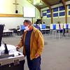 John Newman feeding his ballot into the counter at Shiloh United Methodist Church on election day Nov. 3, 2020.<br /> Tim Bath | Kokomo Tribune