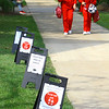 Campus life at IUK amid COVID-19 pandemic on Sept 1, 2020. Markers showing 6 feet distancing along the walkway in the quad at IUK.<br /> Tim Bath | Kokomo Tribune