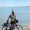 Donita Walters dipped her wheel in the Atlantic Ocean in Virginia to kick off her cross-country bike ride this summer.<br /> Photo Provided