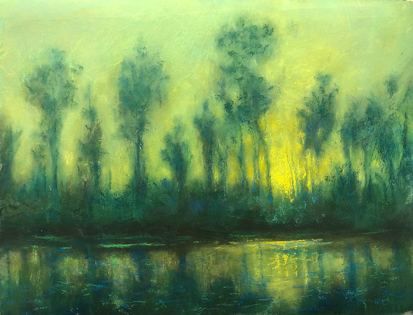 Avon Waters' river painting in pastels.<br /> Photo provided