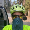Donita Walters used a face covering as she biked through smoke from wildfires out west.<br /> Photo Provided