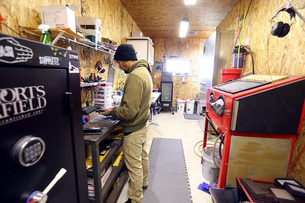 Thomas Kinnard owner and operator of Aye Sir Industries working in his Miami County shop on Jan 29, 2021. <br /> Tim Bath | Kokomo Tribune