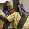 Abby Thatcher, right, offers words of encouragement to Lilly Shallenberger as she waits to find out if she passed her board of review on February 3, 2021. Thatcher, Shallenberger, and fellow scout Jessica Shannon are the first Eagle Scouts in the Sagamore Council.<br /> Kelly Lafferty Gerber   Kokomo Tribune