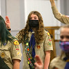 16-year-old Lilly Shallenberger, center, recites the Scout Oath before a meeting of Scouts BSA Troop 628 in Greentown on January 18, 2021. <br /> Kelly Lafferty Gerber | Kokomo Tribune