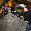 Stewart Worthley works on the roof of the caterpillar house he designed on Tuesday, February 2, 2021. The caterpillar house will be placed at Kokomo-Howard County Public Library's south branch this spring.<br /> Kelly Lafferty Gerber | Kokomo Tribune