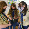 From left: Jessica Shannon, Lilly Shallenberger, and Abby Thatcher discuss their merit badges as they wait for their board of review to begin on February 3, 2021, the final step in becoming an Eagle Scout.<br /> Kelly Lafferty Gerber   Kokomo Tribune