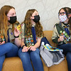 From left: Jessica Shannon, Lilly Shallenberger, and Abby Thatcher chat and laugh as they wait for the start of their board of review on February 3, 2021, the final step in becoming an Eagle Scout.<br /> Kelly Lafferty Gerber   Kokomo Tribune