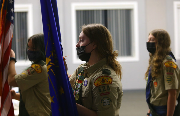 Jessica Shannon, center, practices for an upcoming ceremony during Scout BSA Troop 628's meeting in Greentown on January 18, 2021.<br /> Kelly Lafferty Gerber   Kokomo Tribune