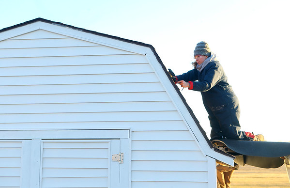 Lilly Shallenberger works on replacing shingles on the garden shed at Jerome Christian Church on January 21, 2021. Revamping the dilpidated church shed was Shallenberger's Eagle Scout project.<br /> Kelly Lafferty Gerber | Kokomo Tribune
