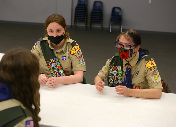 Jessica Shannon and Abby Thatcher chat with Lilly Shallenberger at a Scouts BSA Troop 628 meeting in Greentown on January 18, 2021.<br /> Kelly Lafferty Gerber   Kokomo Tribune